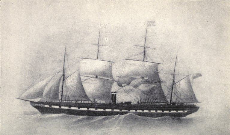 SS Great Britain in 1853, showing her four-masted sail plan following her refit from five masts. She was later refitted again, to a traditional three-masted, square-rigged pattern. From 'The Atlantic Ferry: Its Ships,, Men and Working' by Arthur J. Maginnis, published by Whittaker and Co., London and New York, 1900.