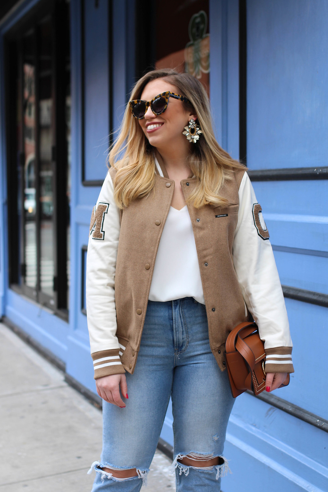 Members Only Varsity Jacket American Eagle Mom Jeans Neutral Casual Spring Outfit Living After Midnite Style Fashion Blogger Jackie Giardina