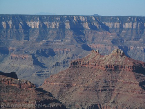 Close up of some of the 'temples' seen from Honan Point on the North Rim of Grand Canyon National Park, Arizona