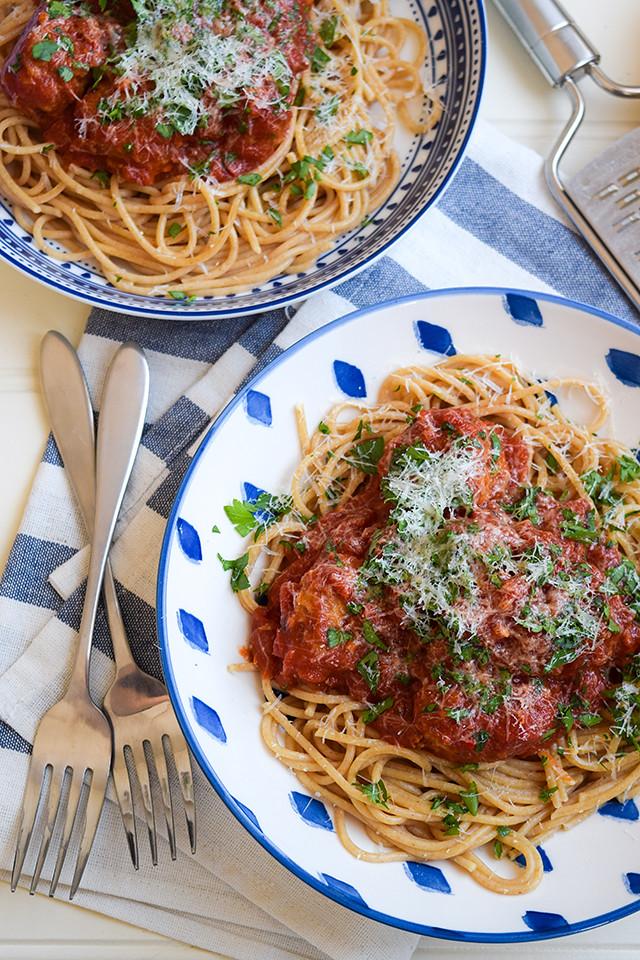 Lemony Pork Meatballs with Wholemeal Spaghetti