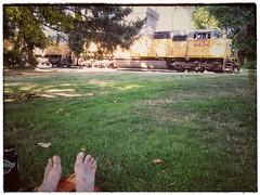 ... Union Pacific freight trains behind. #uprr #unionpacific #unionpacificrailroad #stjohnsbridge