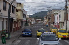 Yellow taxis in Ibarra Ecuador
