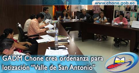"""GADM Chone crea ordenanza para lotización """"Valle de San Antonio"""""""
