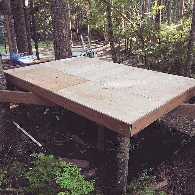 We finished installing the floor last weekend and today I get to start framing the walls. I'm so excited! #buildsewreap #diy #build #maker #treehouse #squirrelsnest