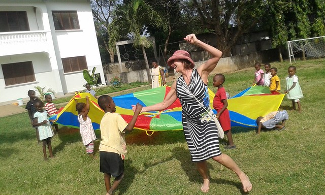 Kate enjoying times with the children