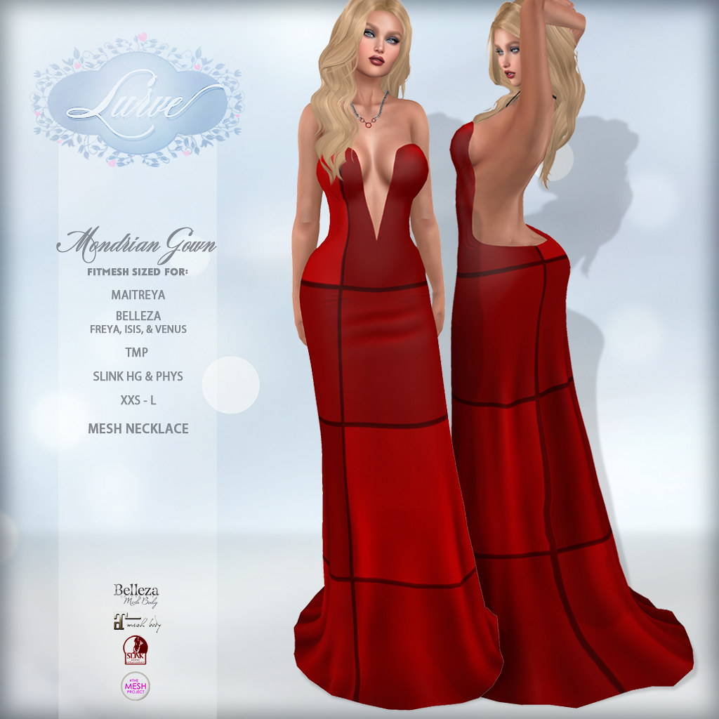 *Lurve* Mondrian Fitmesh Formal in Red - TeleportHub.com Live!