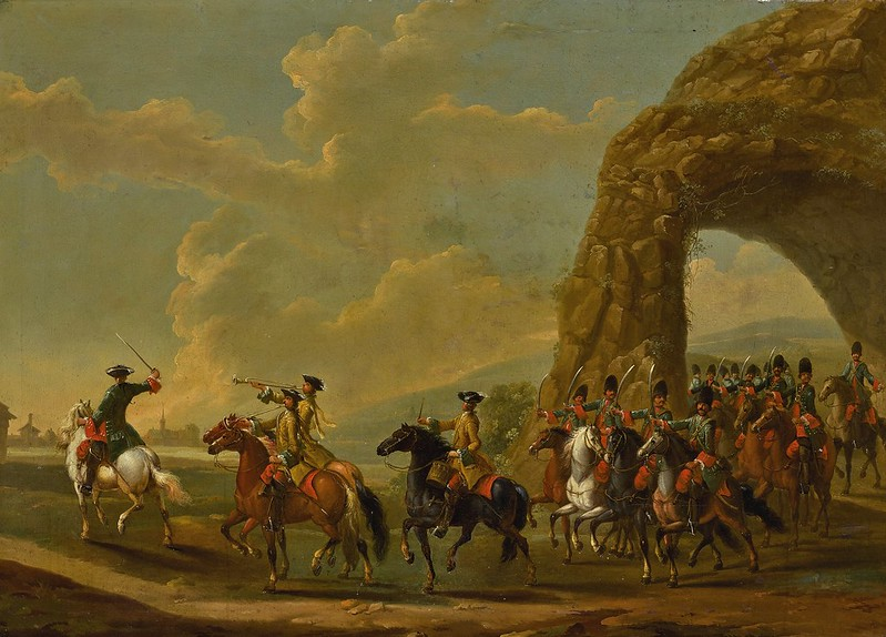 German School, 18th Century - A troop of cavalry led by two mounted trumpeters and a mounted drummer