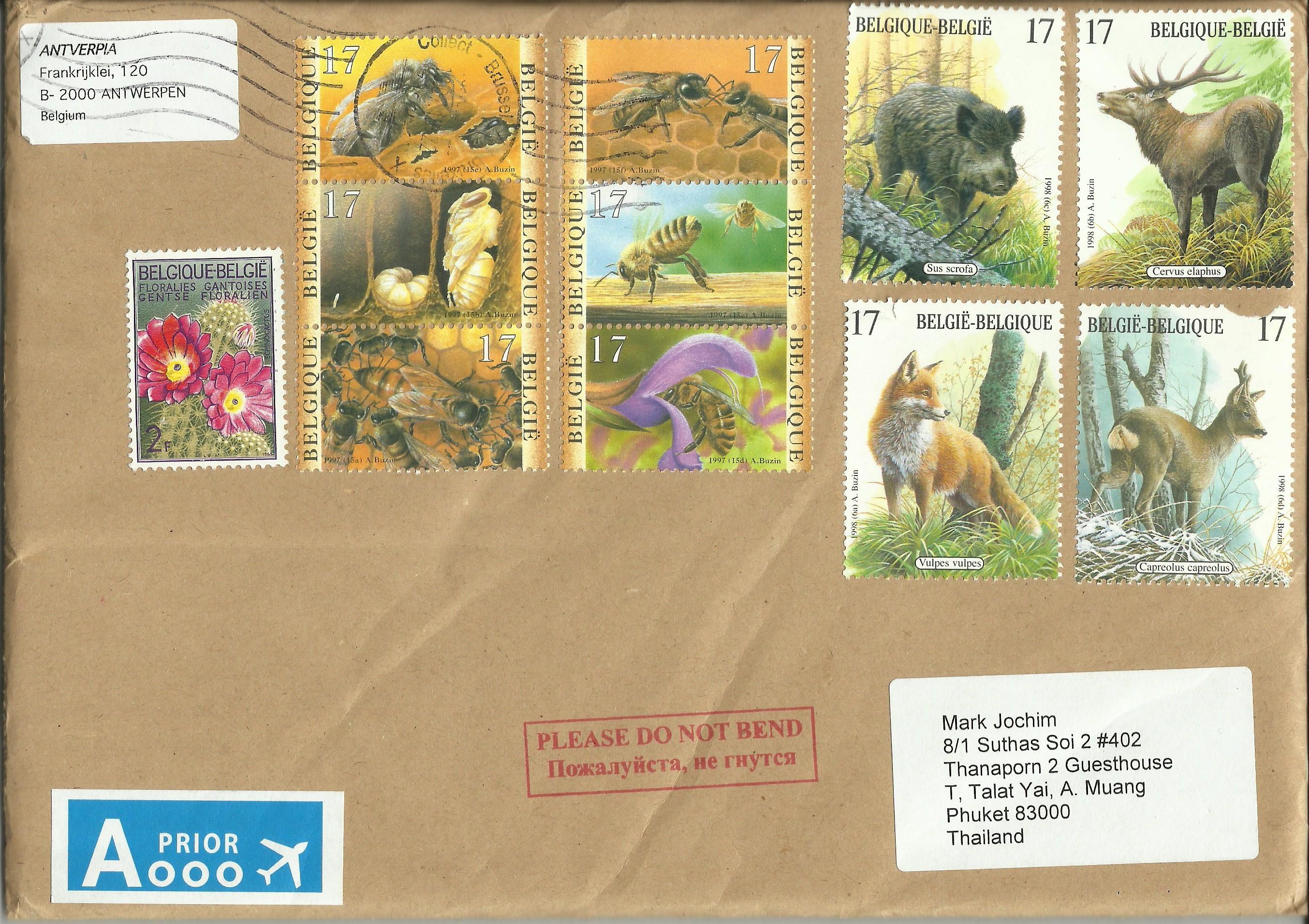 Belgium - Scott #1692-1695 (1998) on philatelic cover