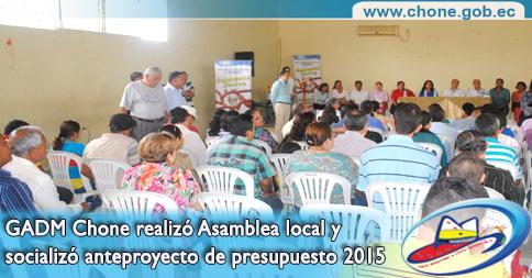 GADM Chone realizó Asamblea local y socializó anteproyecto de presupuesto 2015