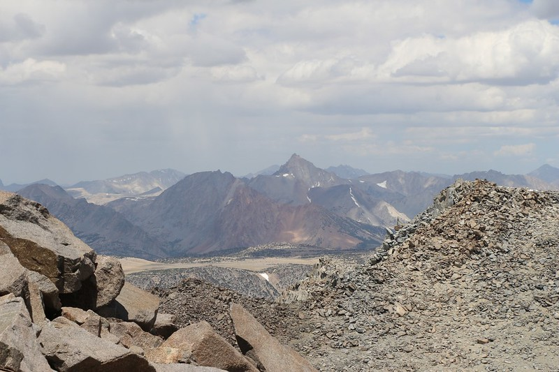 Mount Humphreys in the distance to the northwest from high on the eastern ridge of Cloudripper