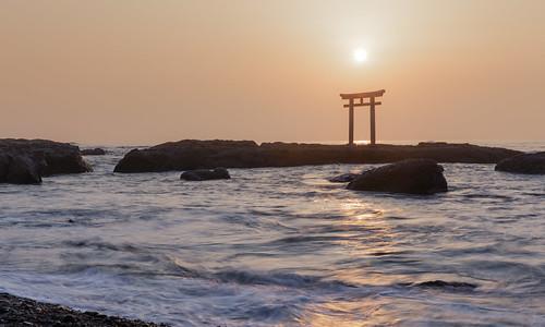 鳥居 sea sunrise 日出 大洗磯前神社 japan 日本