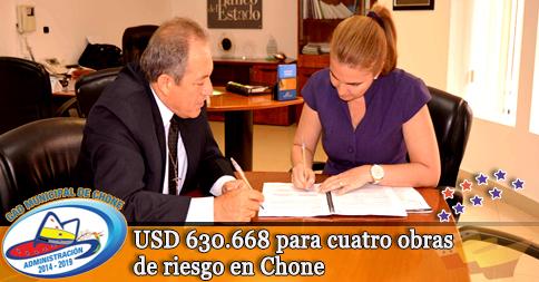 USD 630.668 para cuatro obras de riesgo en Chone