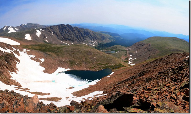 Looking down Ethel Lake & the Mill Creek drainage from Mount Flora's summit