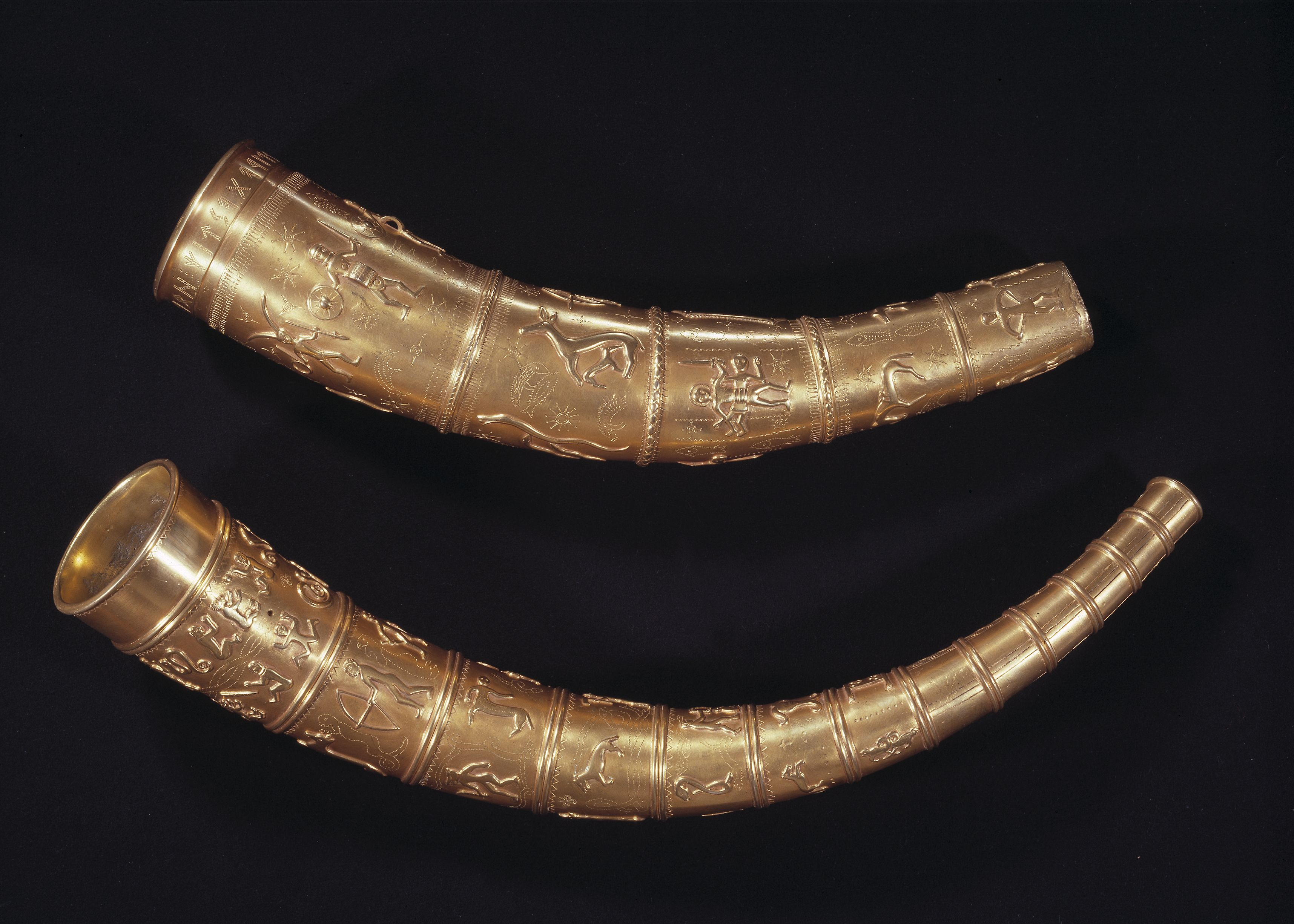 Copies of the two golden horns of Gallehus from around the 4th century in the National Museum of Denmark.