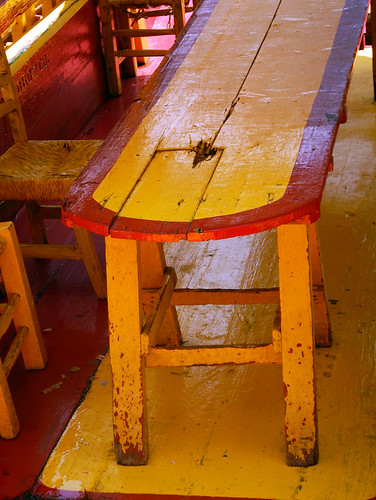 UNESCO Heritage Site Xochimilco with its bright boat and table