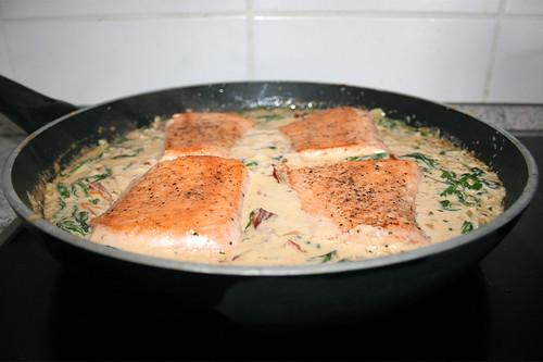 49 - Salmon filet in creamy sauce with dried tomatoes, spinach & garlic - Let reheat salmon / Lachsfilet in cremiger Spinat-Knoblauch-Sauce mit getrockneten Tomaten - Lachs heiß werden lassen
