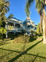 Maryborough.A grand Queenslander house with side entrance and octagonal room. Built by 1912 for Harry Watson a local dentist. Known as Watson House.