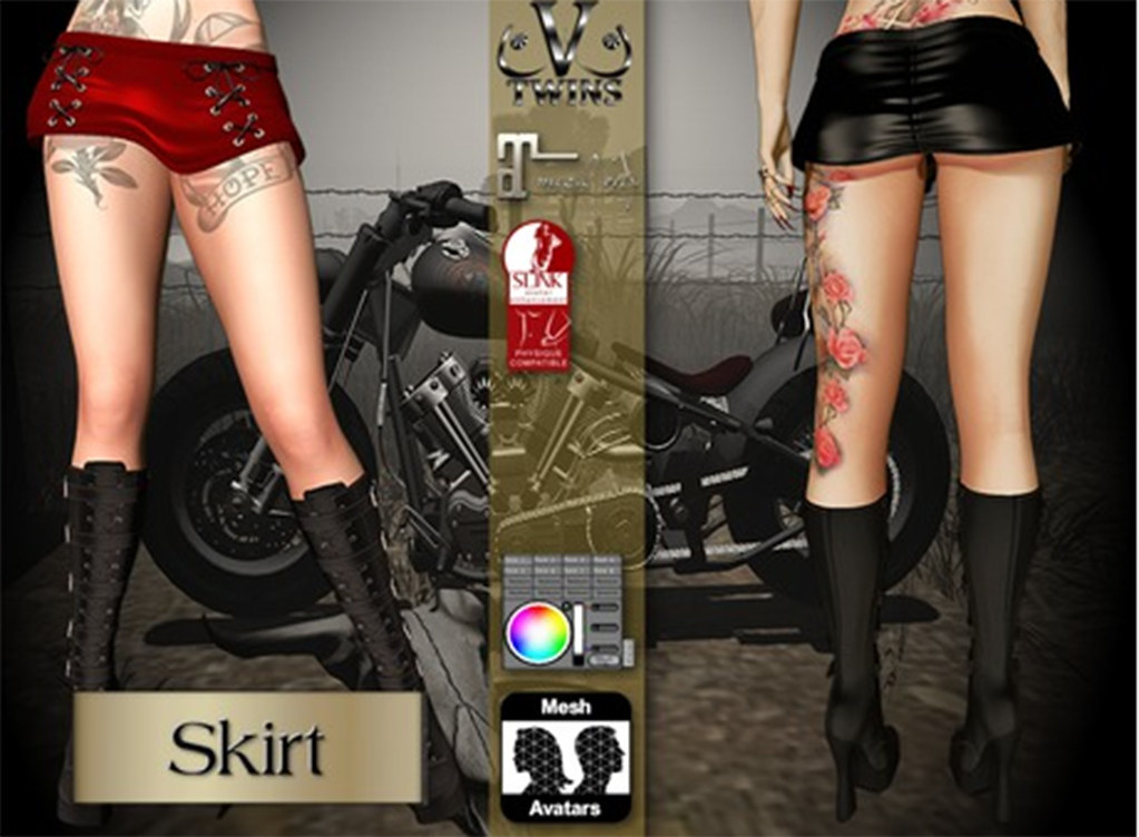 V-Twins Biker Clothes - Individual Items Mesh Skirt - Chaotic Color Summer Version (Slink fitmesh & Maitreya) - TeleportHub.com Live!