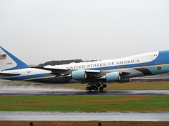 Air Force One departing Prestwick Airport