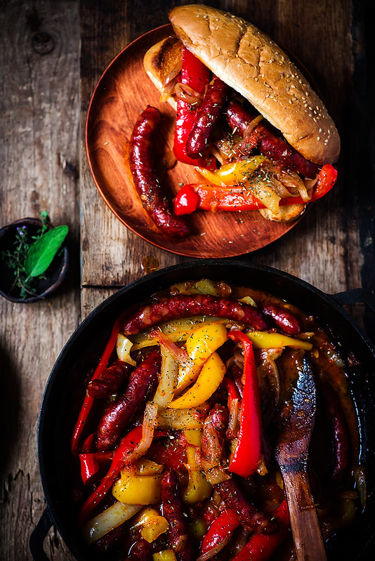 Sausage, Peppers, and Onion  in iron pan