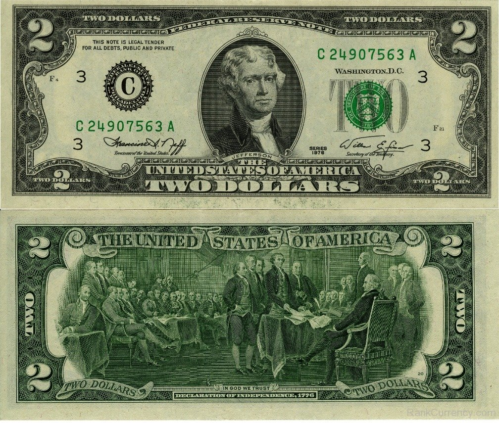 United States two-dollar banknote, 1976 series.