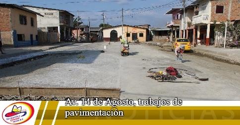 Av. 14 de Agosto, trabajos de pavimentación