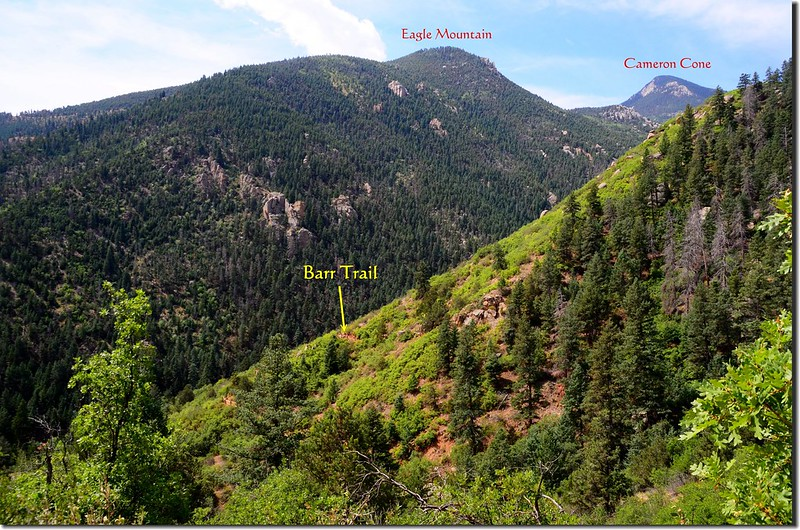 Looking southwest at Barr Trail from The Incline 1-1