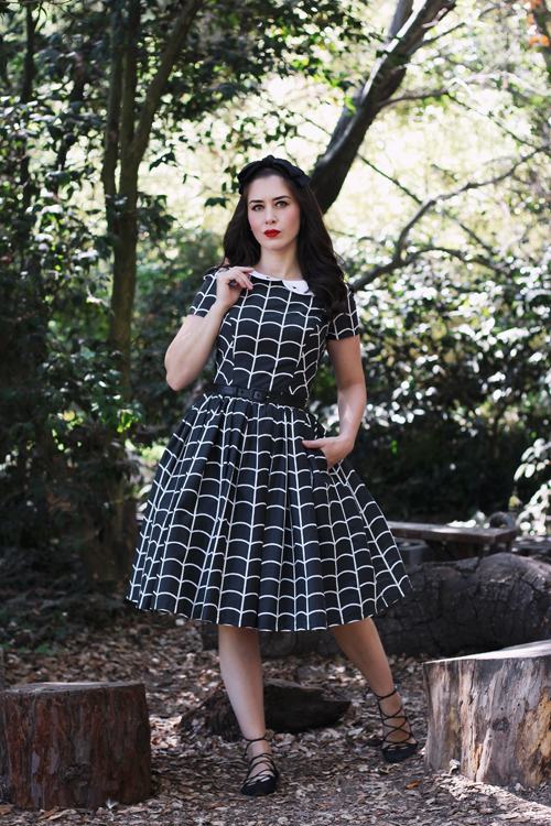 Vintage Inspired by Jackie Spider Web Peter Pan Collar Dress
