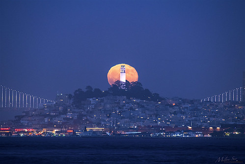 Silent Moonrise behind the Coit Tower