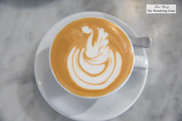 Swan latte art on the cappuccino