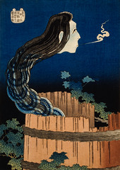 The Plate Mansion by Katsushika Hokusai (1760-1849), a traditional Japanese Ukyio-e style illustration of traditional Japanese folklore ghost, Okiku. Digitally enhanced from our own original edition.