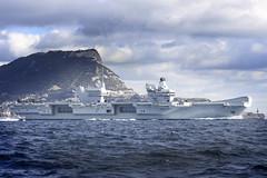 HMS Queen Elizabeth leaving Gibraltar