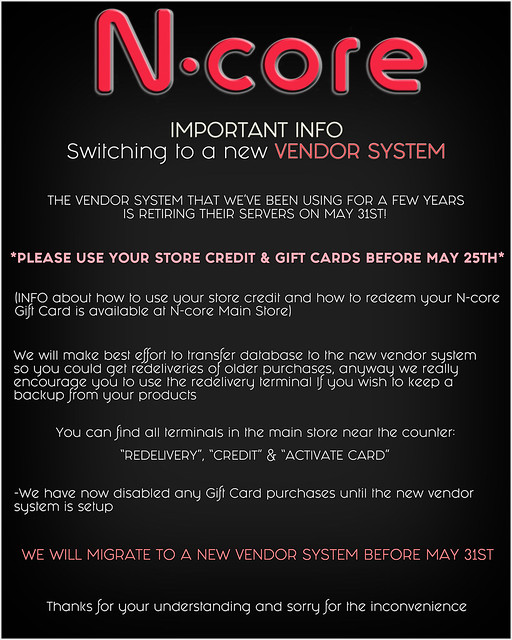 N-core Important INFO: Switching to a new Vendor System!