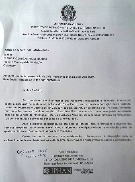 Notifcação do Iphan ao prefeito de Óbidos