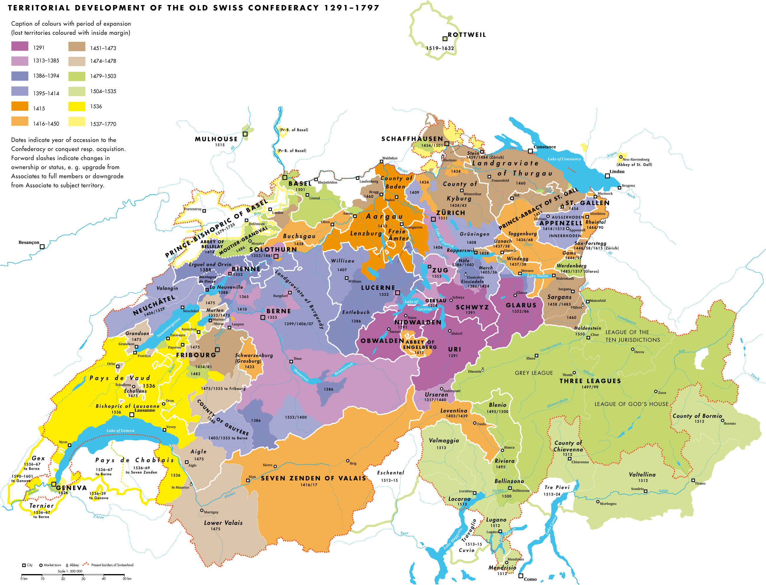 Map of Old Swiss Confederacy, 1291-1797