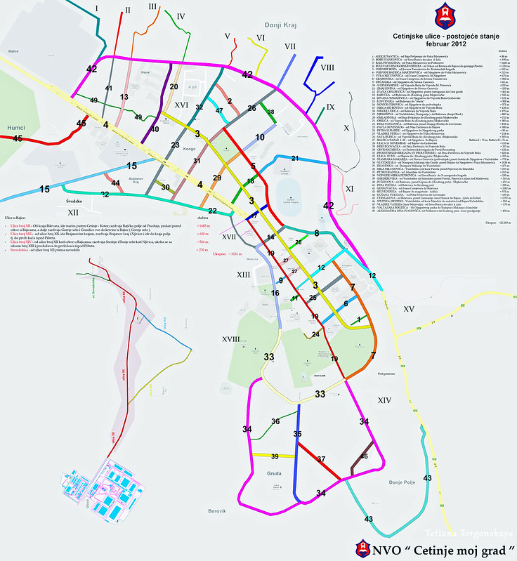 Карта улиц в Цетине