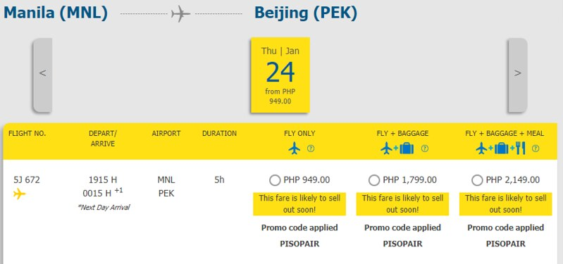 Cebu Pacific Piso Pair Manila to Beijing