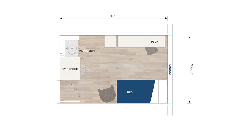 A bedroom floor plan for Norwood House