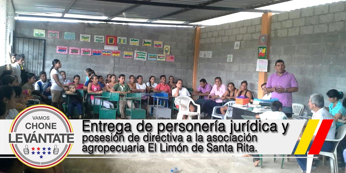 Entrega de personería jurídica y posesión de directiva a la asociación agropecuaria El Limón de Santa Rita.
