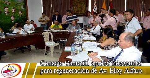 Concejo Cantonal aprobó fidecomiso para regeneración de Av. Eloy Alfaro