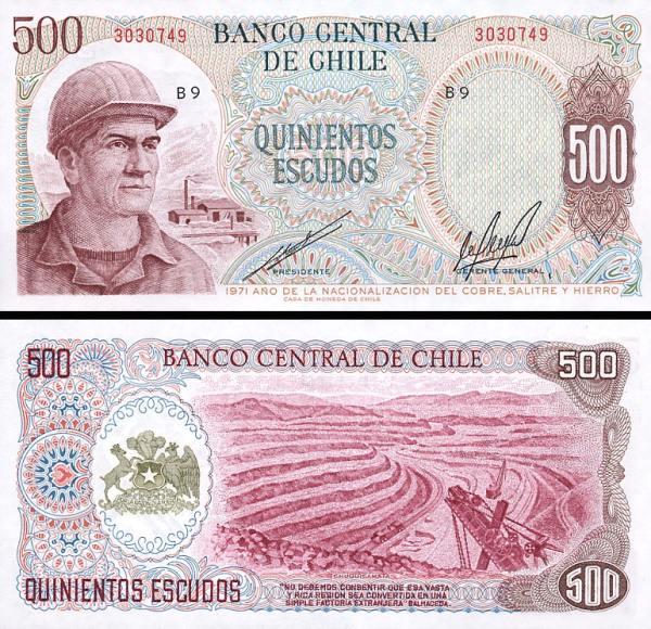 500 Escudos Čile 1971, P145