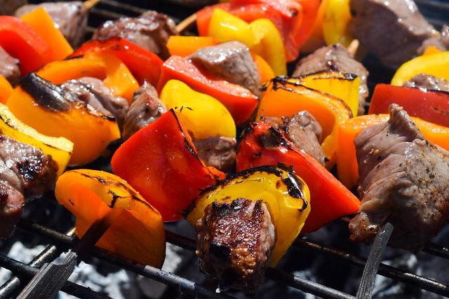 Barbecuing Steak Skewers #barbecue #grilling #steak #skewers #kabobs #chimichurri