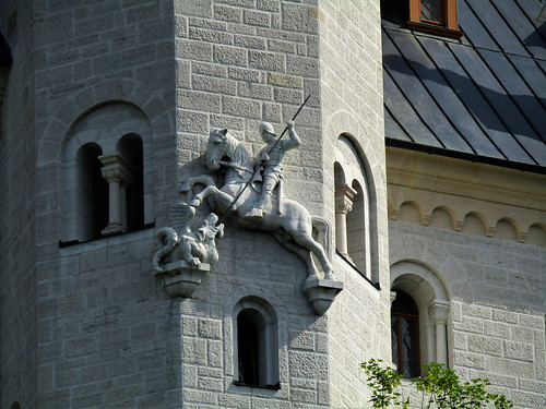 statue on wall of Neuschwanstein Castle