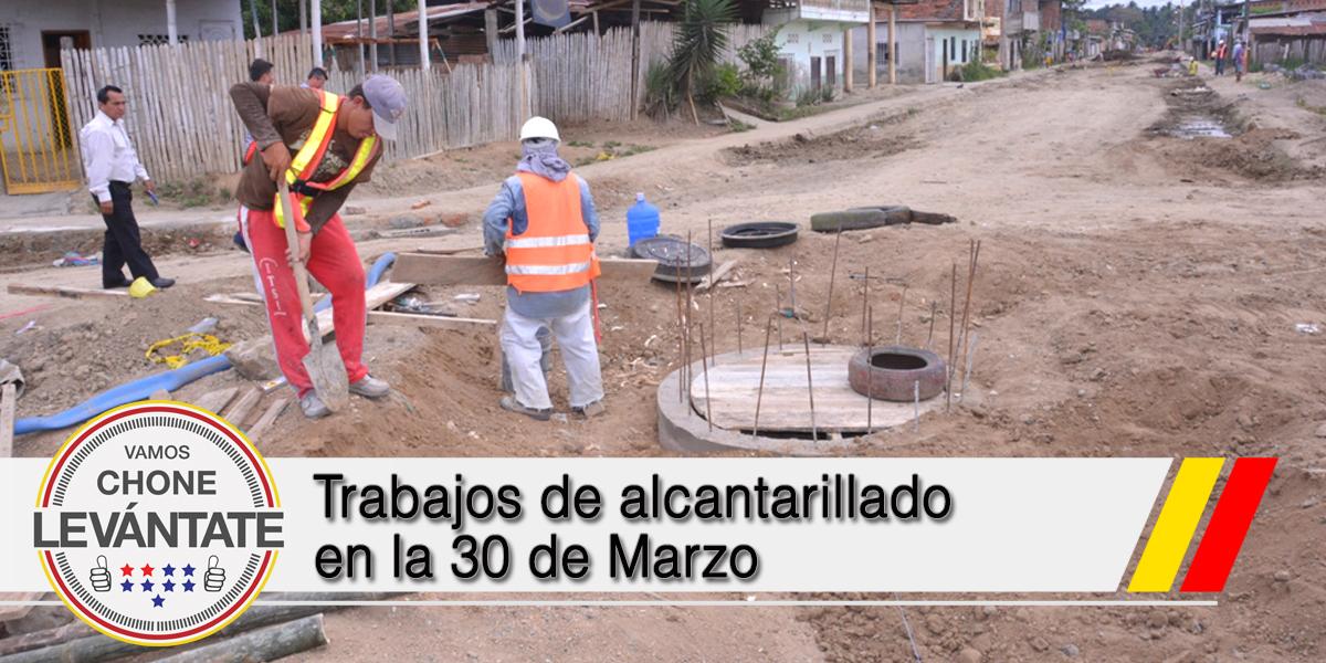 Trabajos de alcantarillado en la 30 de Marzo