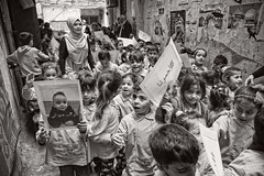 Kids demonstrating in Shatila refugee camp, Beirut, Lebanon