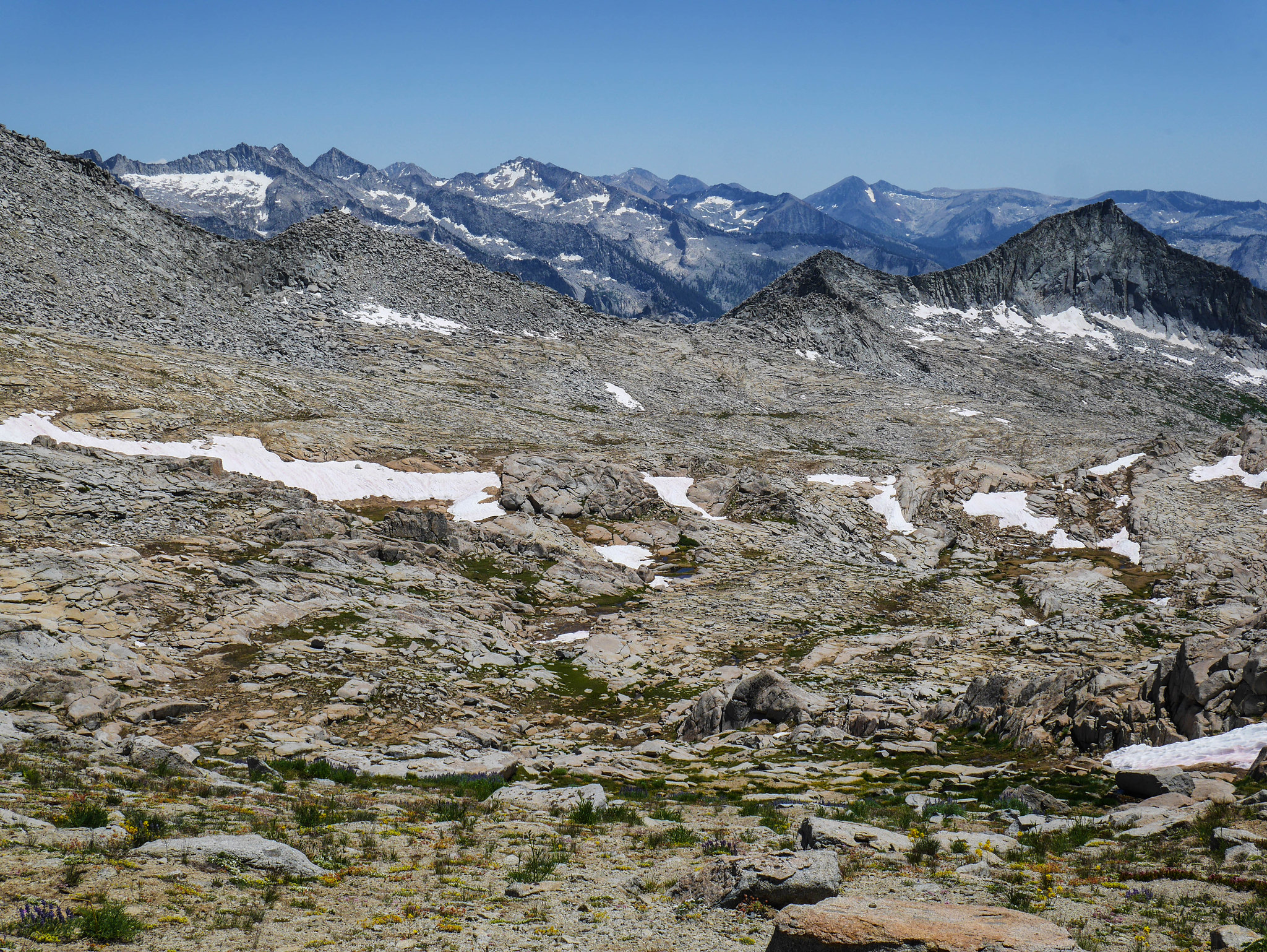 Looking back at Ptetrodactyl Pass from the ridgeline just NW of Big Bird Peak