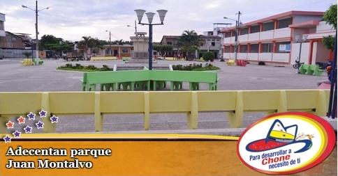 Adecentan parque Juan Montalvo