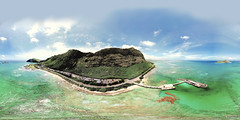 The Makai Research Pier from my DJI Mavic Pro 336 feet out and 338 feet up - an aerial 360 Equirectangular VR