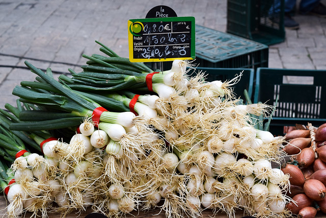 Salad Onions at Sarlat Market, South West France #onions #alliums #saladonions #sarlat #market #farmersmarket #france #dordogne