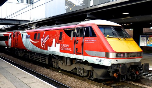 Class 91 'Virgin East Coast'No. 91114, 'Durham Cathedral'. BREL Crewe on 'Dennis Basford's railsroadsrunways.blogspot.co.uk'